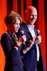 ATC co-chairs David Zippel and Terri Ketover welcome the audiencewith a fundraiser update.