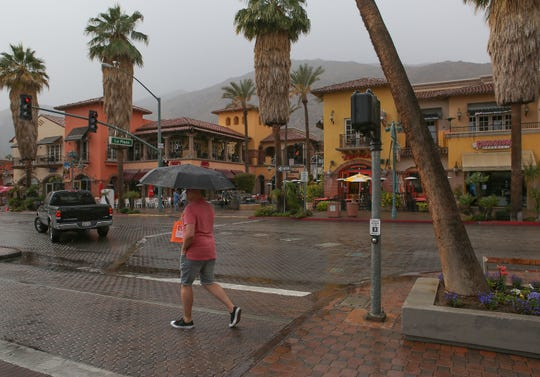 Rain comes down in downtown Palm Springs, November 29, 2018.