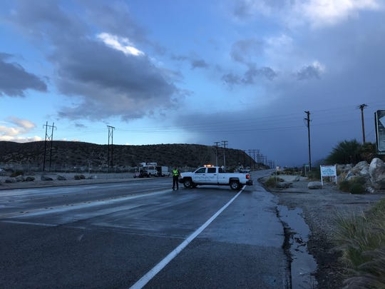 Palm Springs block Indian Canyon Drive due to flooding. Water from the Whitewater Replenishment Facility was diverted to due an overflow related to heavy rainfall.