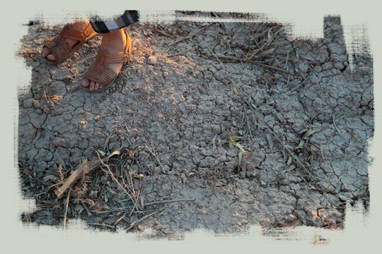Un residente pisa el suelo seco del ejido El Choropo, un barrio situado al lado de la fábrica Fevisa.