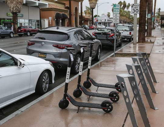 Bird scooters showed up in downtown Palm Springs on Nov. 29, 2018. The city ultimately served the company with a cease-and-desist order, and the scooters were removed.