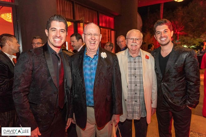 Longtime donors and event sponsors with musical guests: Will Nunziata, David Hood, George Sellers, Anthony Nunziata.