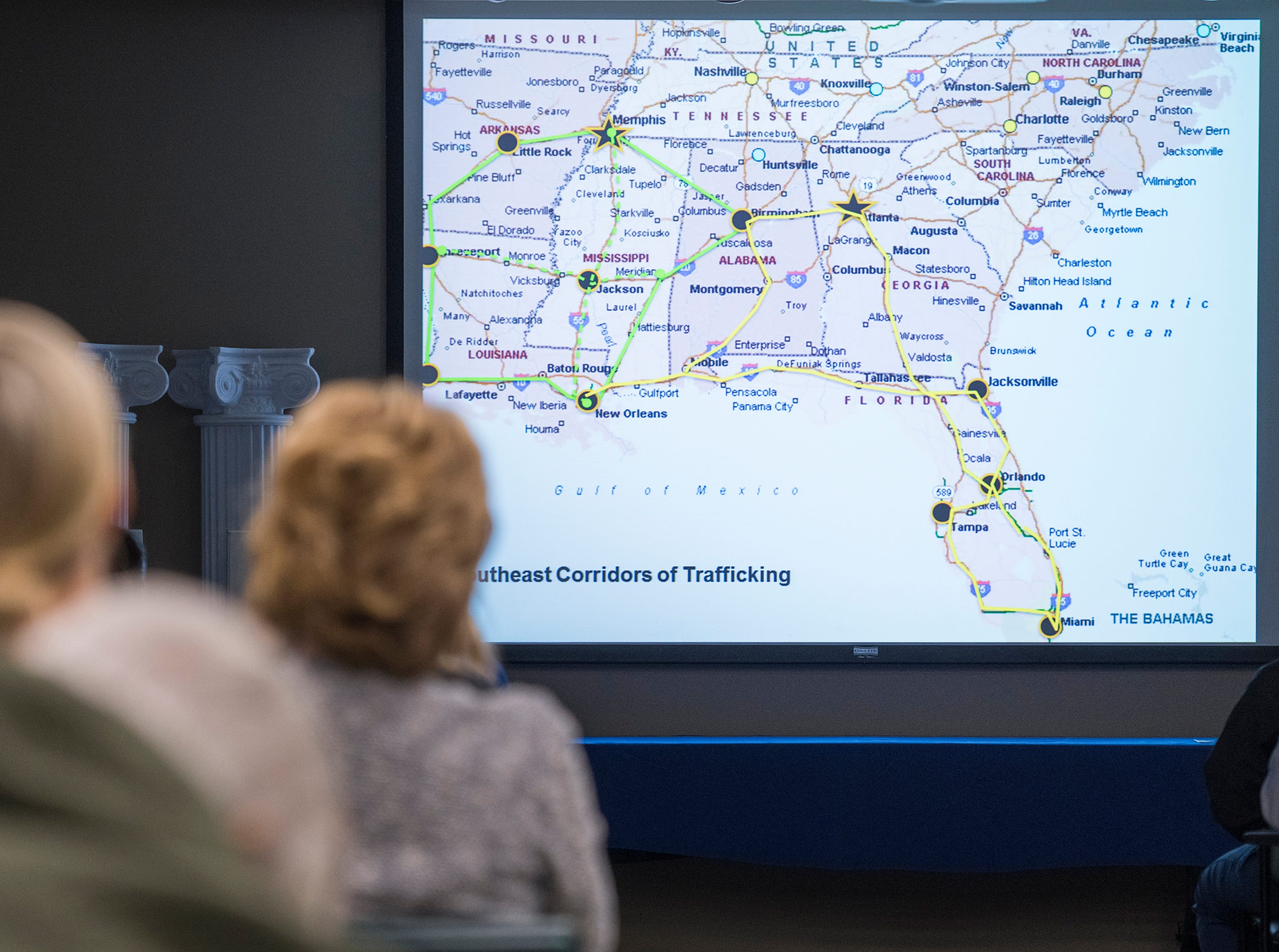 Brad Dennis, National Search Director for the KlaasKIDS Foundation's Search Center for Missing & Trafficked Children, teaches health care workers how to identify potential victims of human trafficking and commercial sex exploitation during a seminar at Baptist Hospital in Pensacola on Thursday, November 29, 2018.