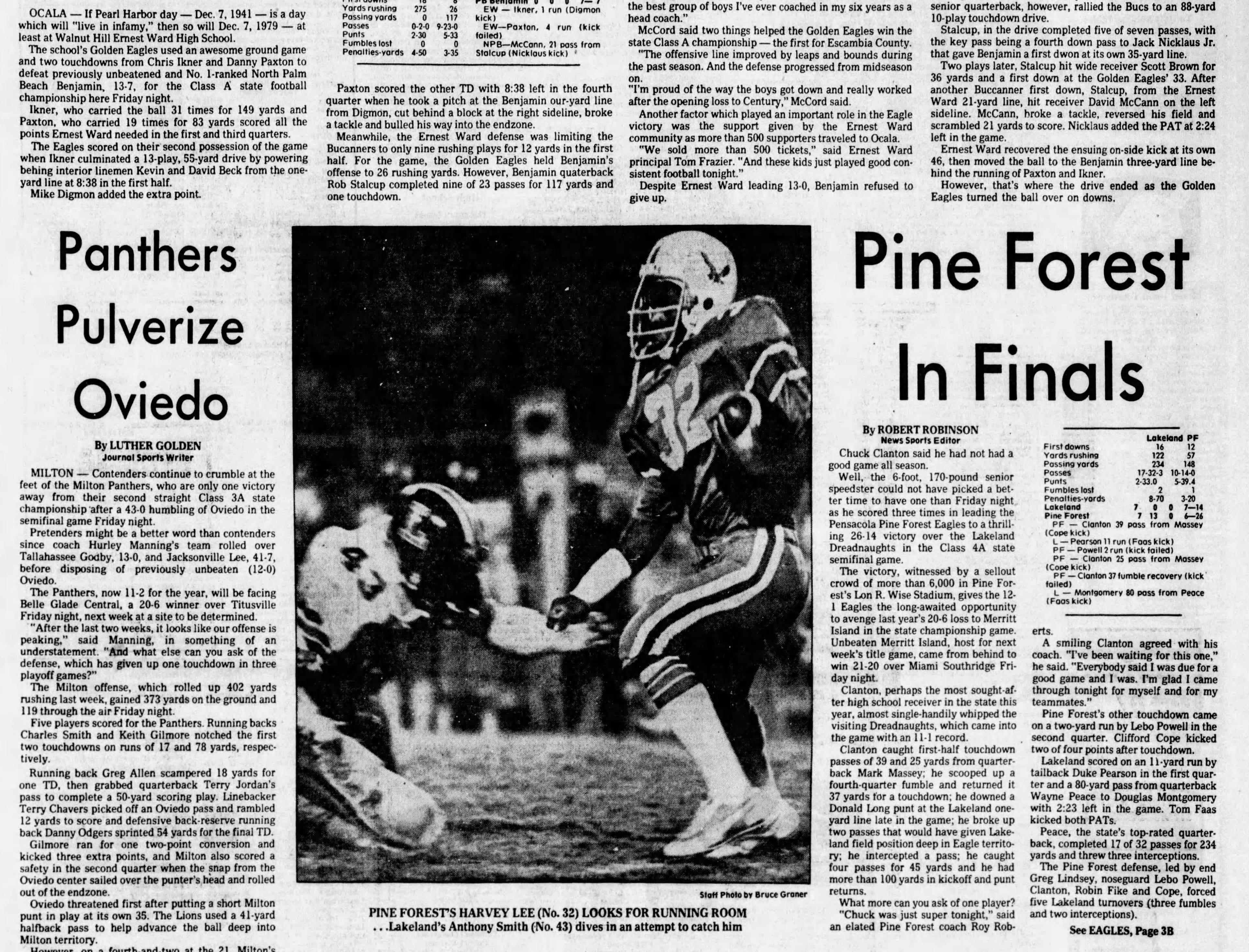 1979: Ernest Ward defeats Palm Beach Benjamin 13-7 for the Class A title.