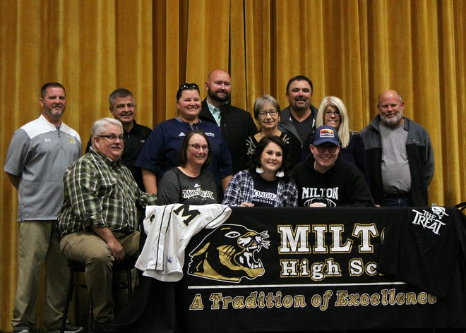 Milton High softball player Alyssa Hudson (center) signed with Montreat (N.C.) College.