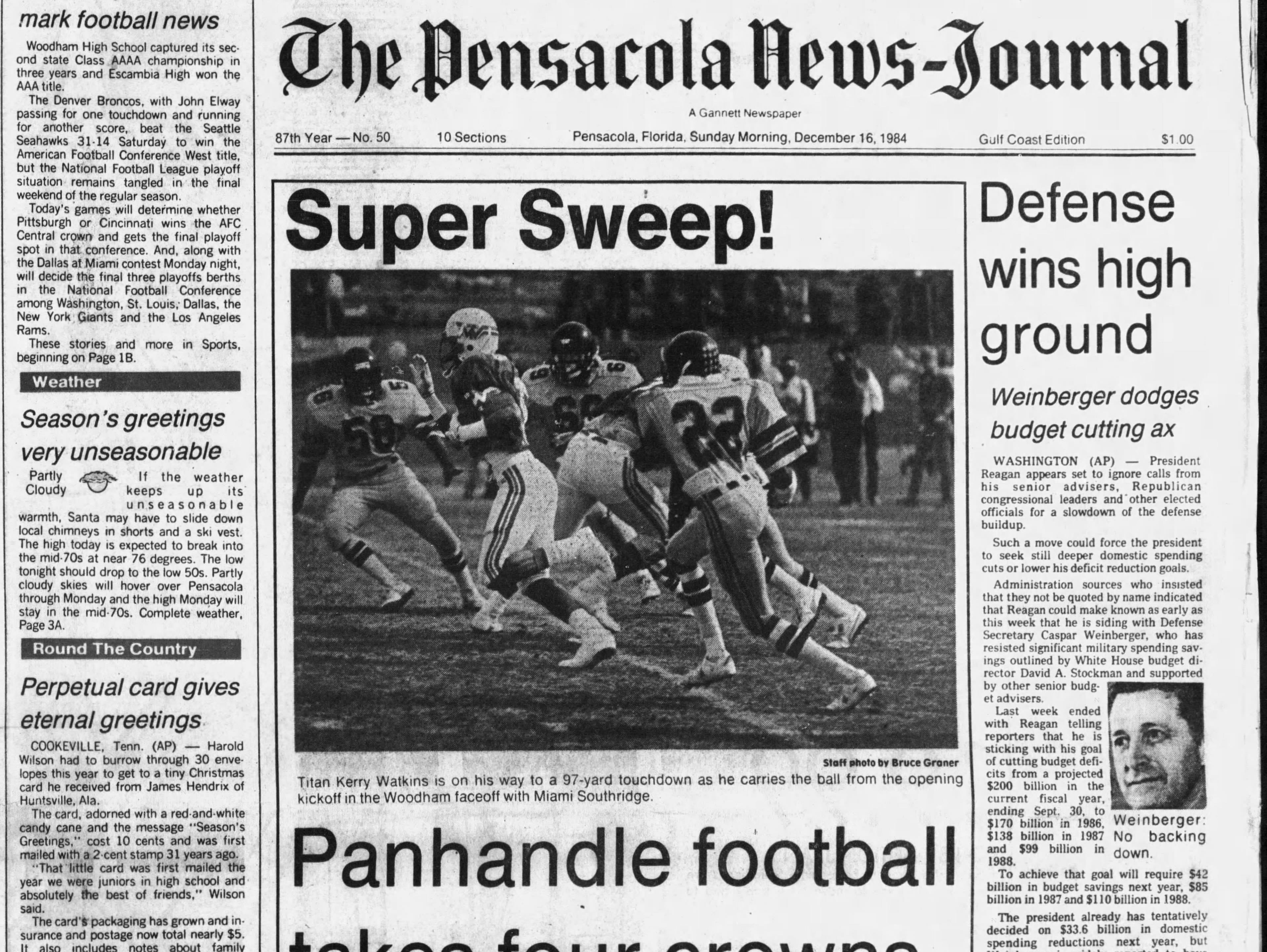 1984: Woodham defeats Miami Southridge, 20-7, for Class 4A title and Escambia defeats St. Petersburg, 47-14 for Class 3A title.