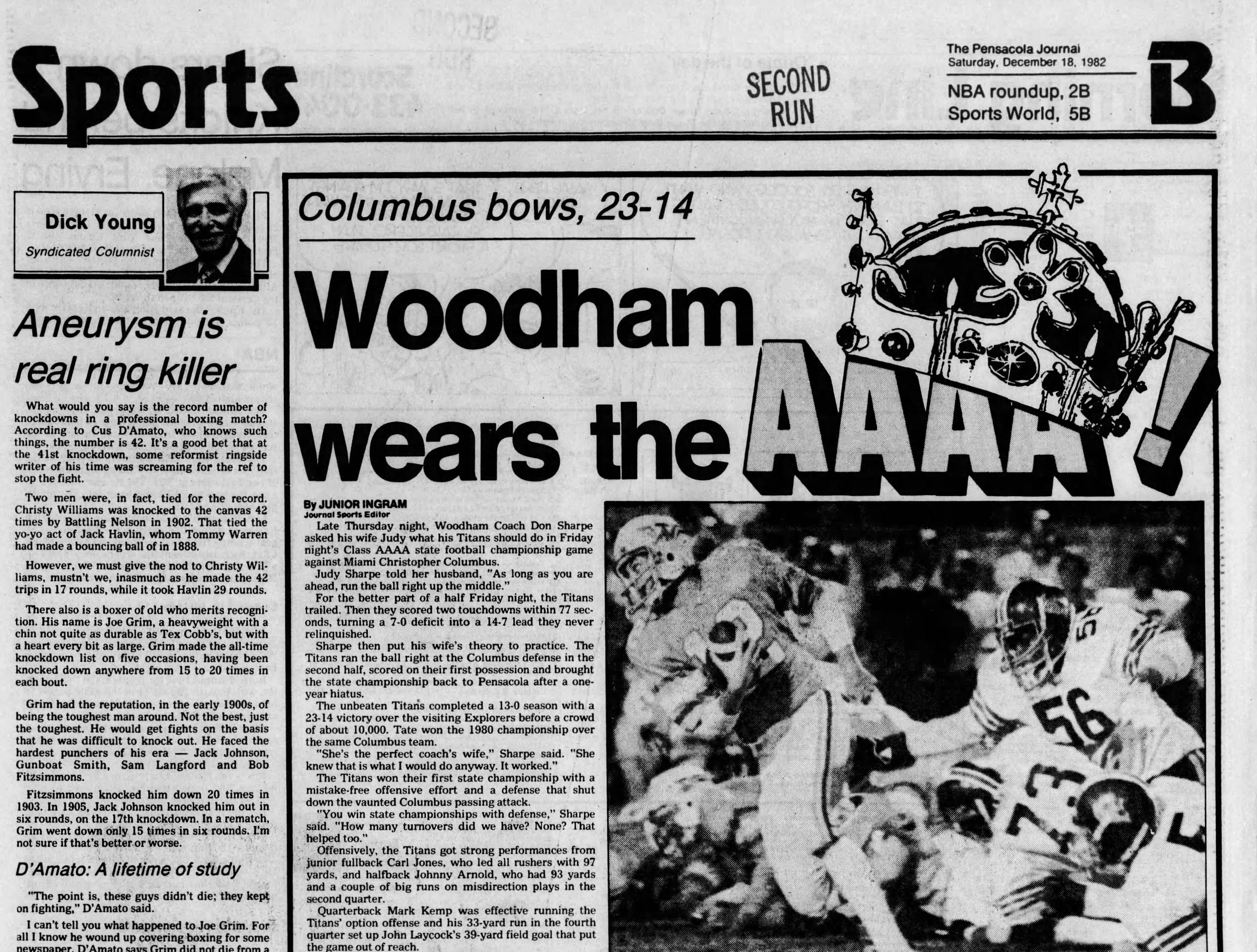 1982: Woodham defeats Miami Columbus 23-14 for Class 4A title.