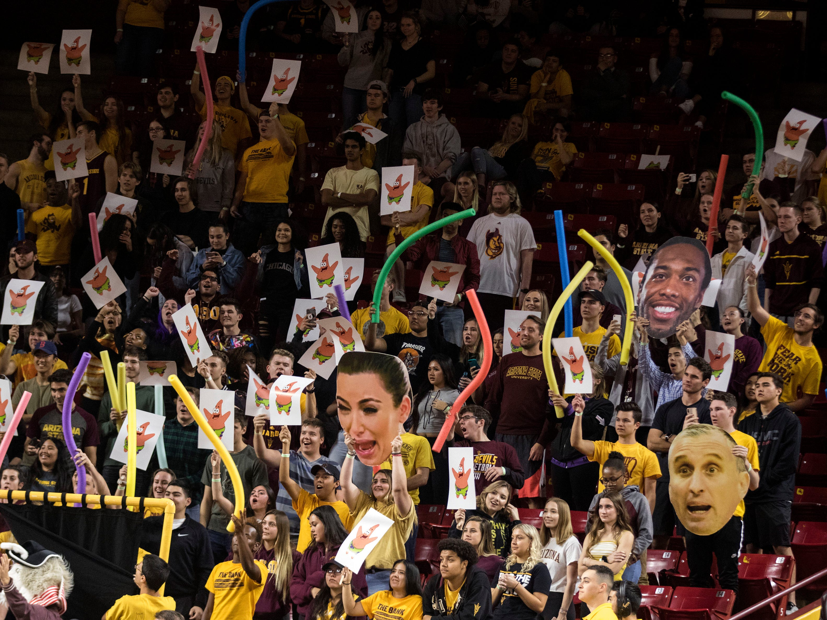 Arizona State University's student section tries to distract a Nebraska Omaha player shooting free throws during the first half of their game in Tempe, Wednesday, Nov.28,  2018. Darryl Webb/Special for the Republic