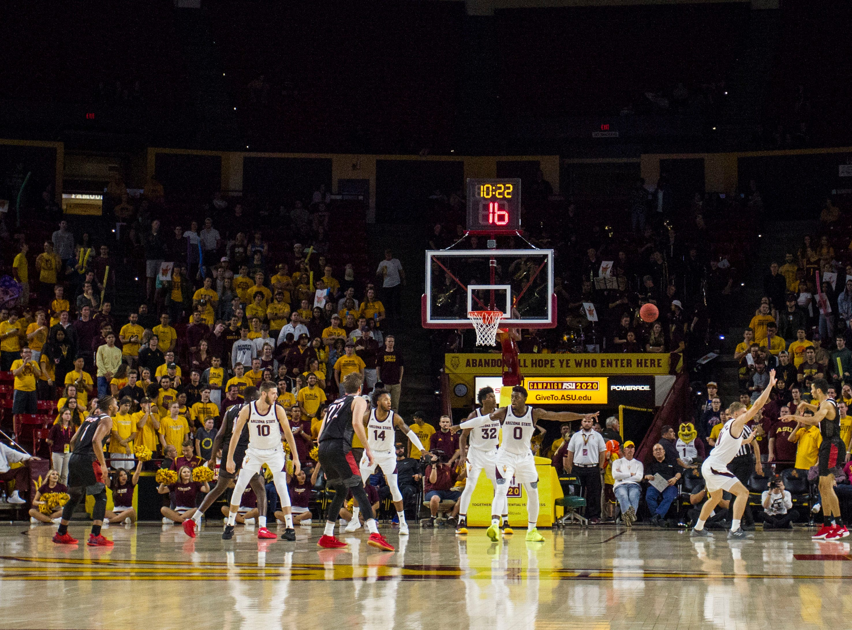 Arizona State University plays defense against Nebraska Omaha during the second half of their game in Tempe, Wednesday, Nov.28,  2018. Darryl Webb/Special for the Republic