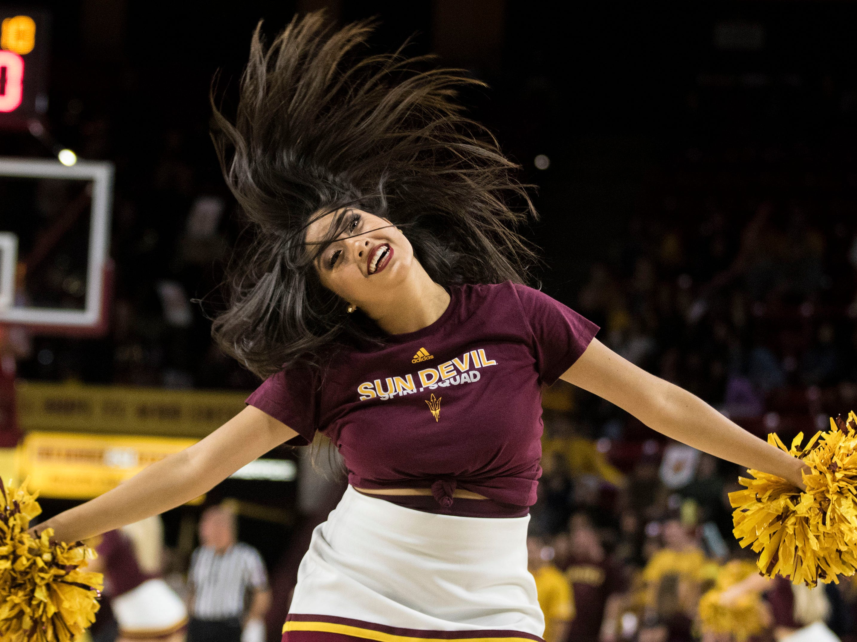 An Arizona State University cheerleader entertains during a timeout during their game with against Nebraska Omaha in Tempe, Wednesday, Nov.28,  2018. Darryl Webb/Special for the Republic