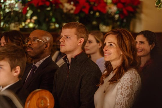 "There is a moving scene at a church during Christmas Eve mass in ""Ben is Back."""