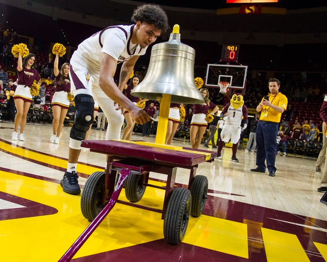 Arizona State University freshman Taeshon Cherry rings the bell after their game against Nebraska Omaha in Tempe, Wednesday, Nov.28,  2018. Darryl Webb/Special for the Republic