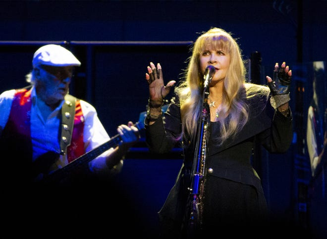 John McVie and Stevie Nicks of Fleetwood Mac performs at Talking Stick Resort Arena in Phoenix on November 28, 2018.