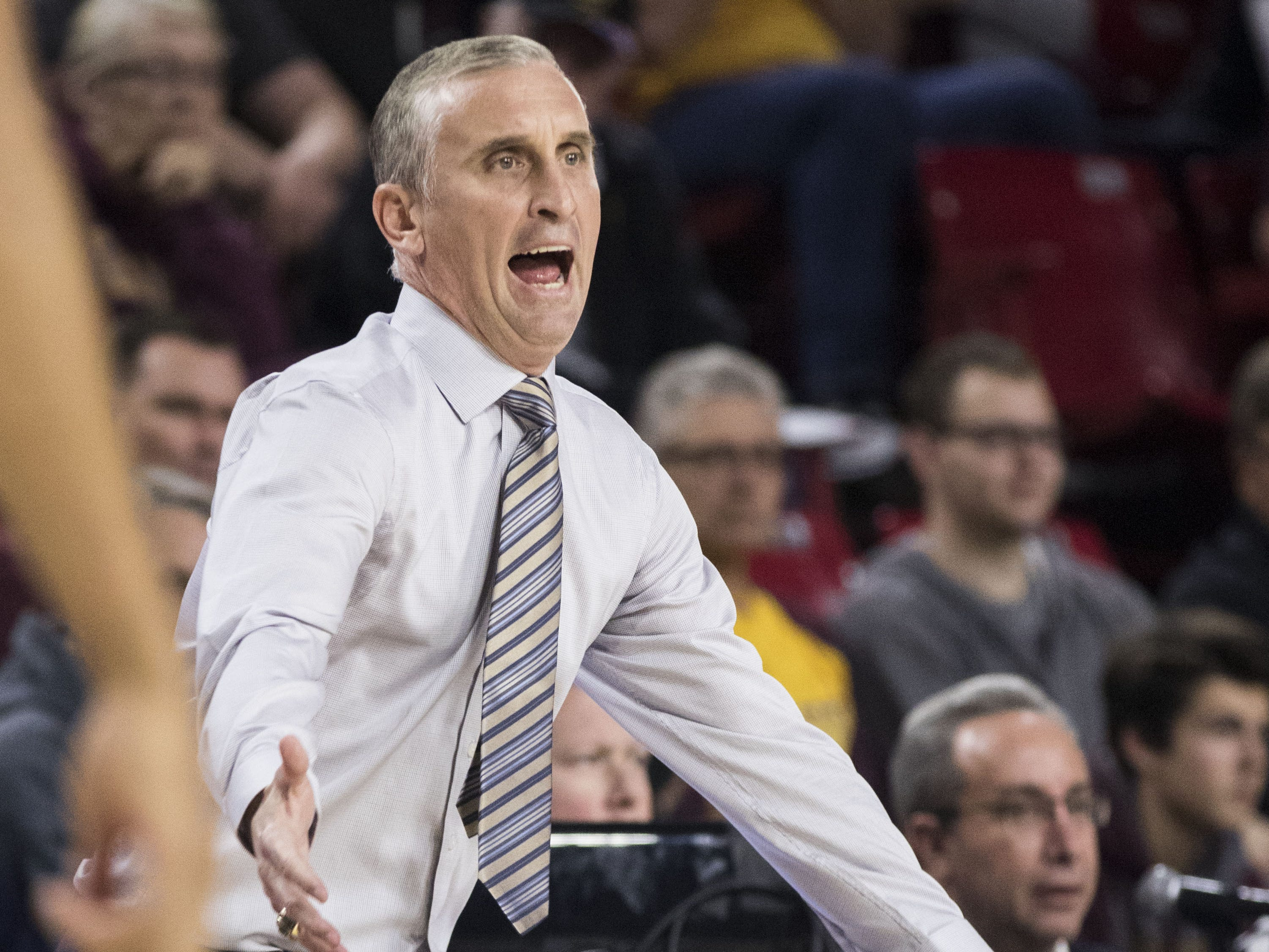 Arizona State University's head coach Bobby Hurley gets animated as Nebraska Omaha keeps it close during the first half of their game in Tempe, Wednesday, Nov.28,  2018. Darryl Webb/Special for the Republic