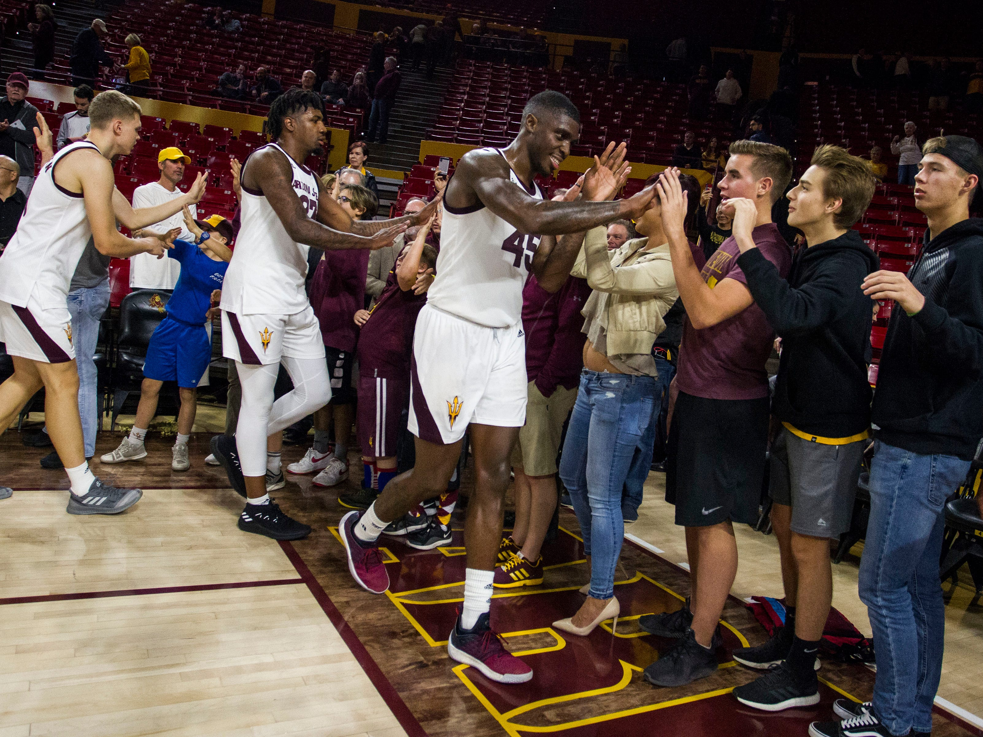 Arizona State University's Zylan Cheatham greets fans basket  after their game against Nebraska Omaha in Tempe, Wednesday, Nov.28,  2018. Darryl Webb/Special for the Republic