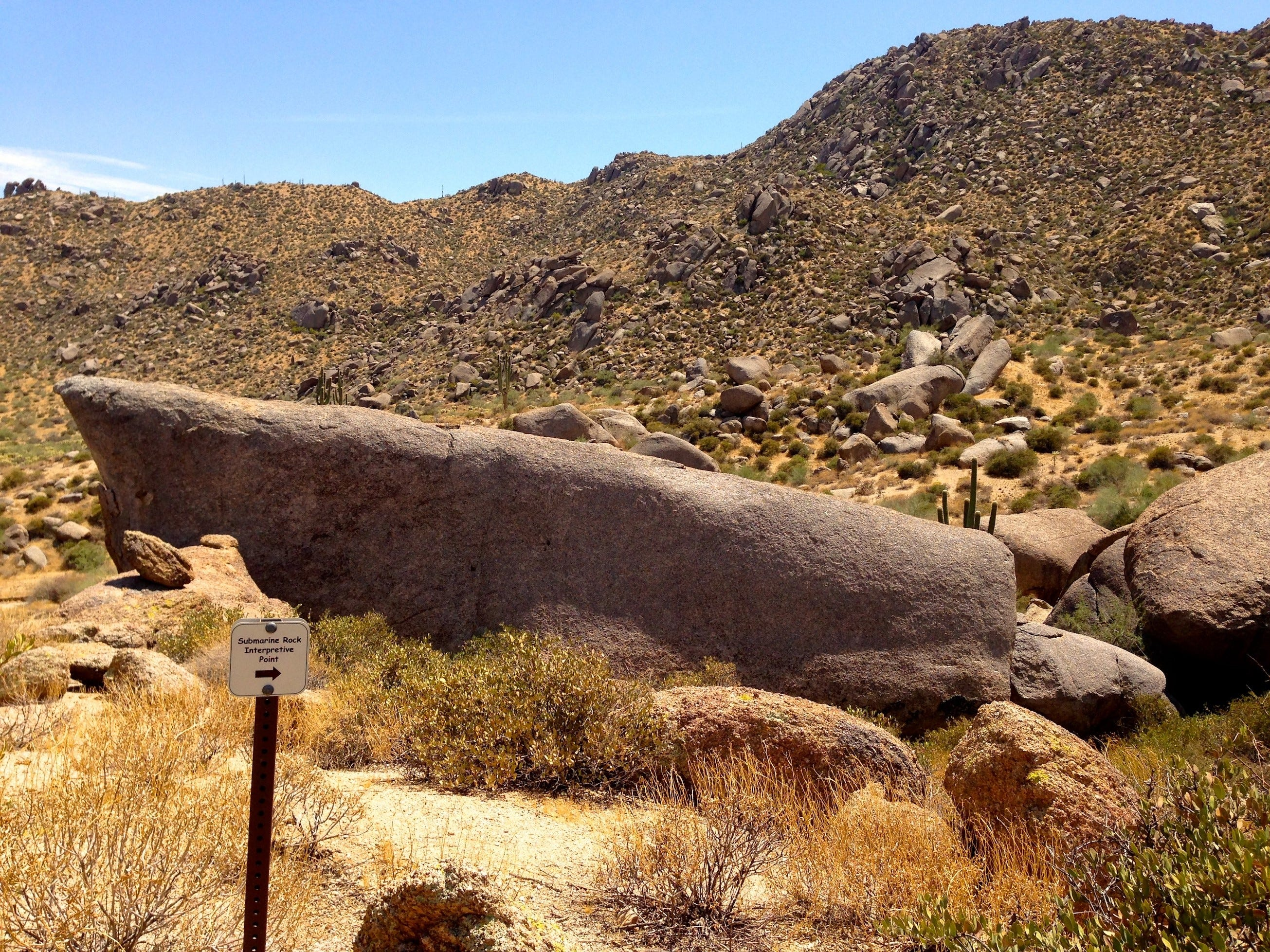 At the end of the Marcus Landslide Trail, a short loop weaves through the jumbled boulders of the slide mass 100 feet above the desert floor.