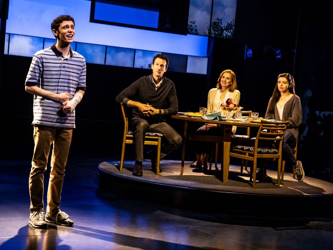 Ben Levi Ross as 'Evan Hansen,' Aaron Lazar as 'Larry Murphy,' Christiane Noll as 'Cynthia Murphy' and Maggie McKenna as 'Zoe Murphy' in the First North American Tour of Dear Evan Hansen 2018.