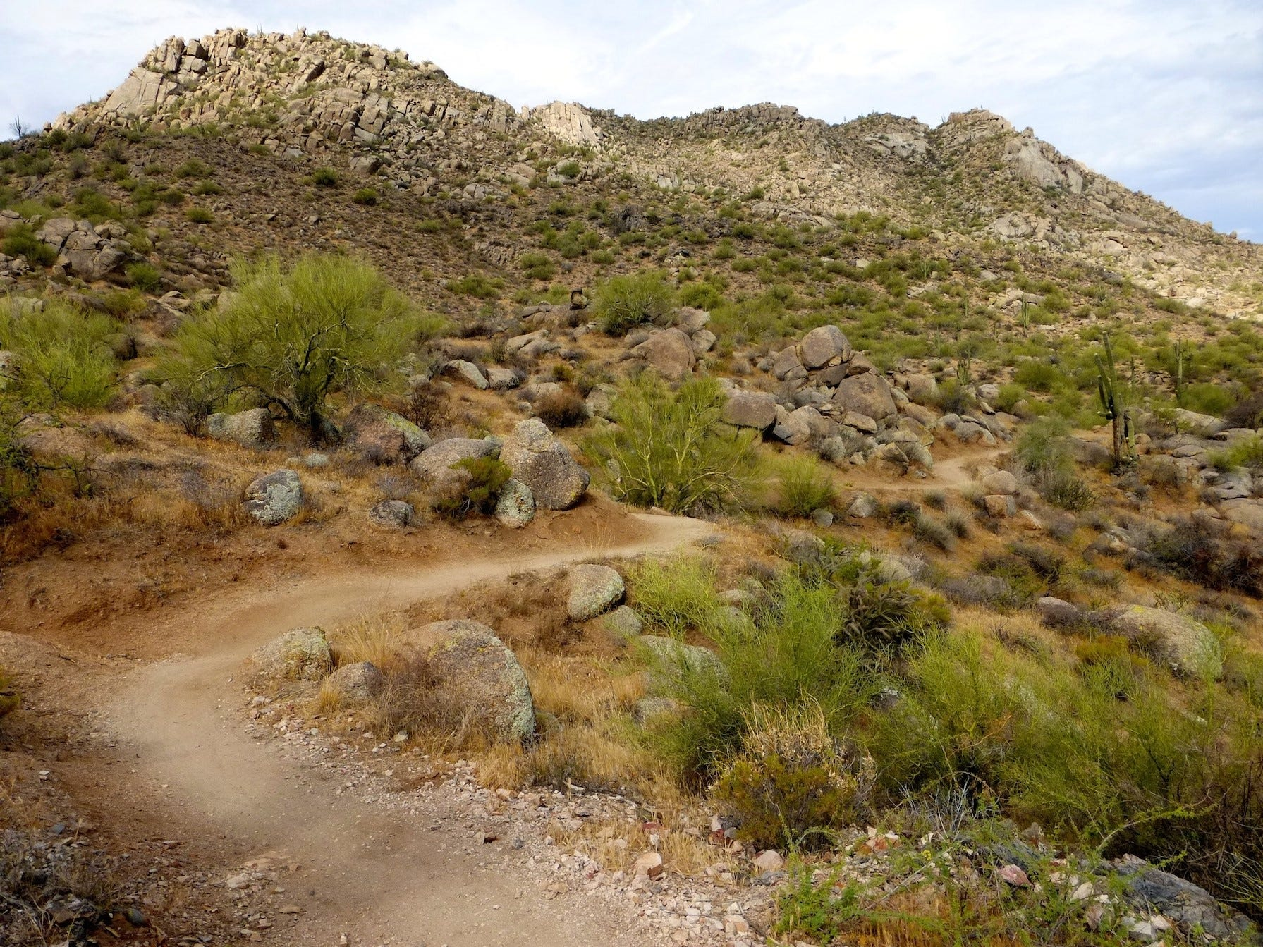 Trails circle the flanks of Granite Mountain in the northern section of the McDowell Sonoran Preserve.