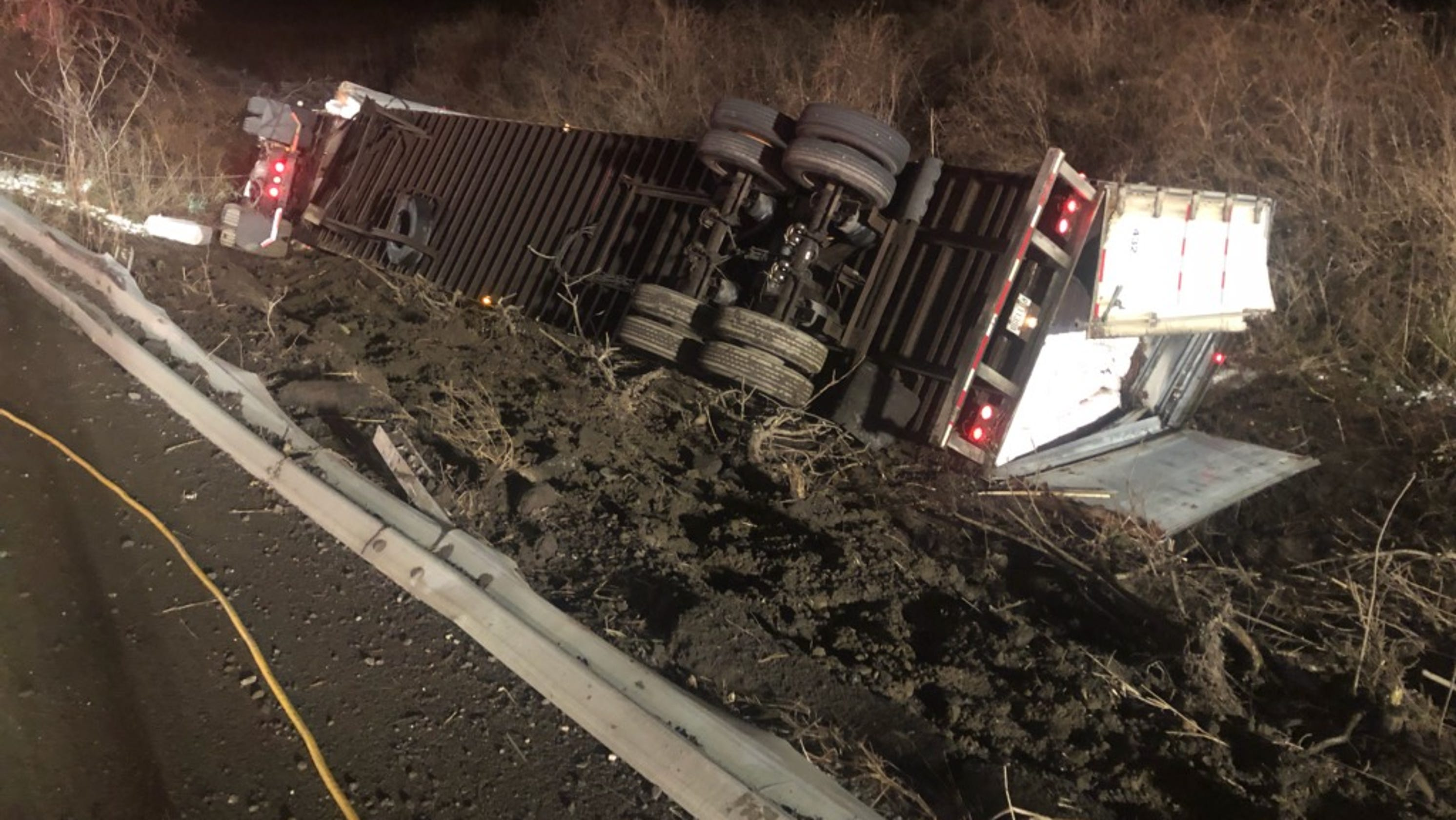 Tractor trailer rollover on Route 22
