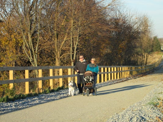 Family with dog on Hanover Trolley Trail