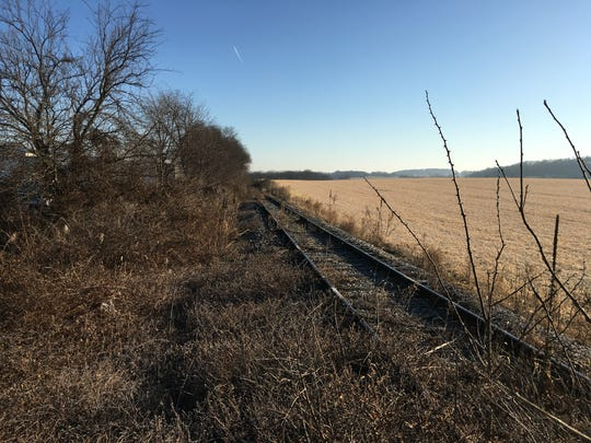 A dormant section of railroad that will be removed and cleared of brush to extend the Hanover Trolley Trail