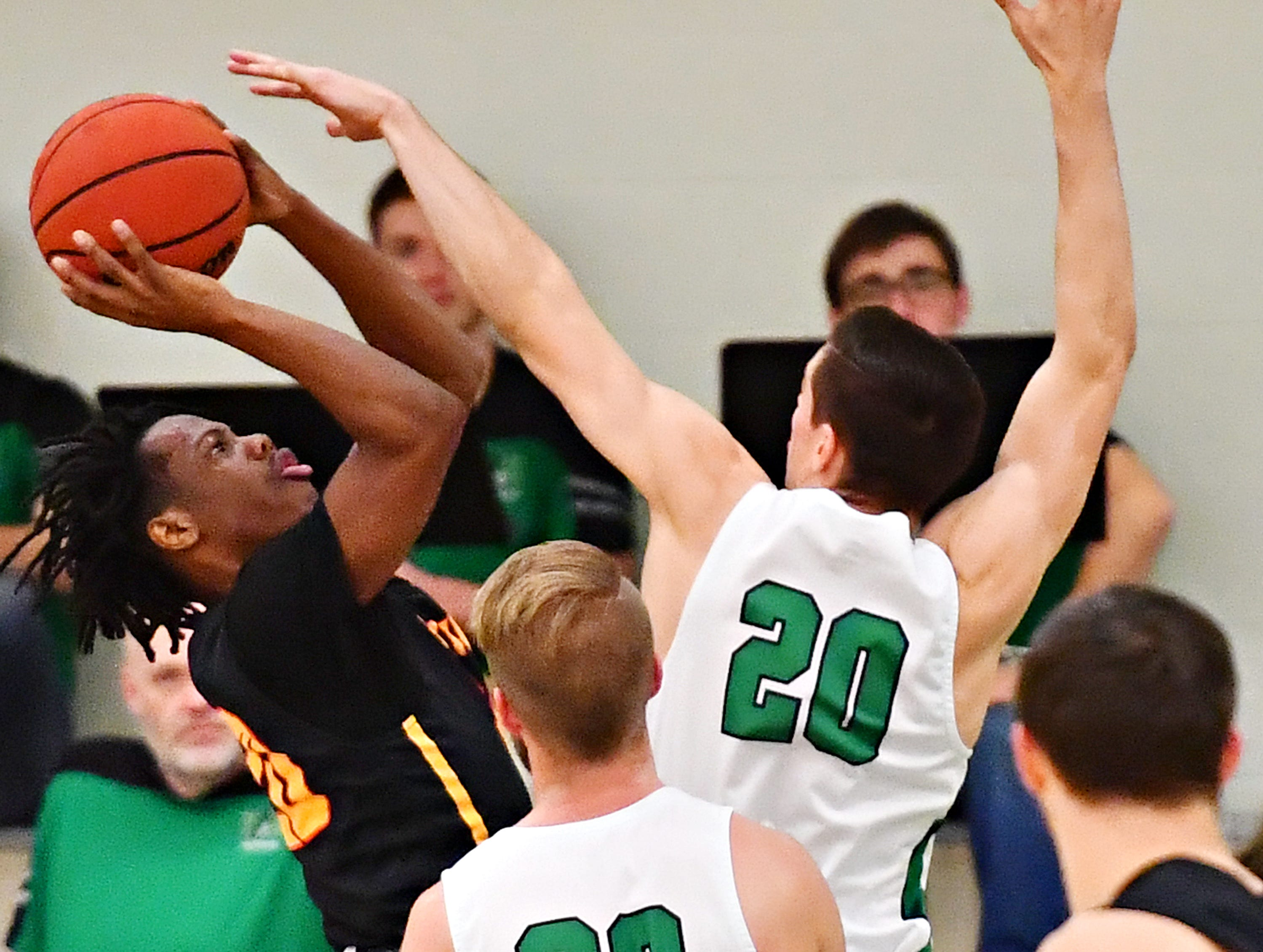 York College vs Gwynedd-Mercy during men's basketball action at Grumbacher Sport and Fitness Center in Spring Garden Township, Wednesday, Nov. 28, 2018. York College would win the game 85-62. Dawn J. Sagert photo