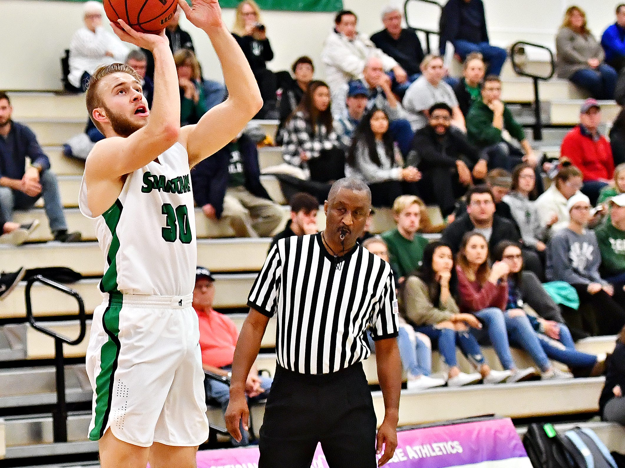 York College's Joey Polczynski lines up his shot during men's basketball action against Gwynedd-Mercy at Grumbacher Sport and Fitness Center in Spring Garden Township, Wednesday, Nov. 28, 2018. Dawn J. Sagert photo