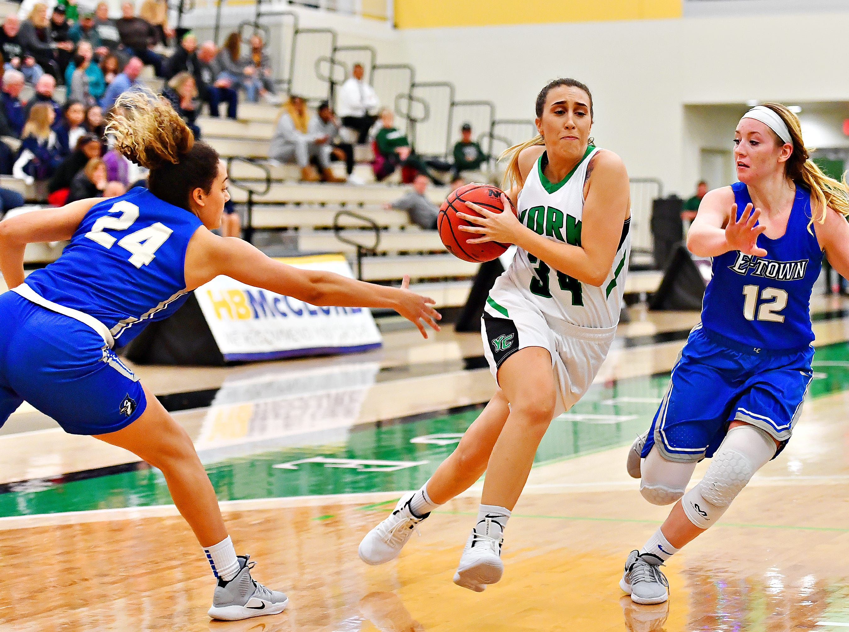 York College vs Elizabethtown during women's basketball action at Grumbacher Sport and Fitness Center in Spring Garden Township, Wednesday, Nov. 28, 2018. Elizabethtown would win the game 71-61. Dawn J. Sagert photo