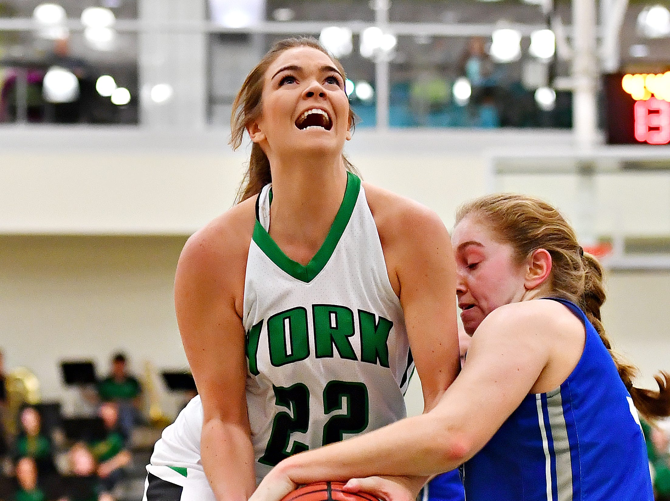 Elizabethtown's Emma Powell, right, stops York College's Katie McGowan during women's basketball action at Grumbacher Sport and Fitness Center in Spring Garden Township, Wednesday, Nov. 28, 2018. Dawn J. Sagert photo