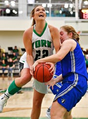 York College's Katie McGowan, seen here in a file photo, had 29 points and 15 rebounds on Wednesday in a win vs. Frostburg State.