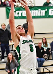York College's Jared Wagner dunks the ball during men's basketball action against Gwynedd-Mercy at Grumbacher Sport and Fitness Center in Spring Garden Township, Wednesday, Nov. 28, 2018. Dawn J. Sagert photo