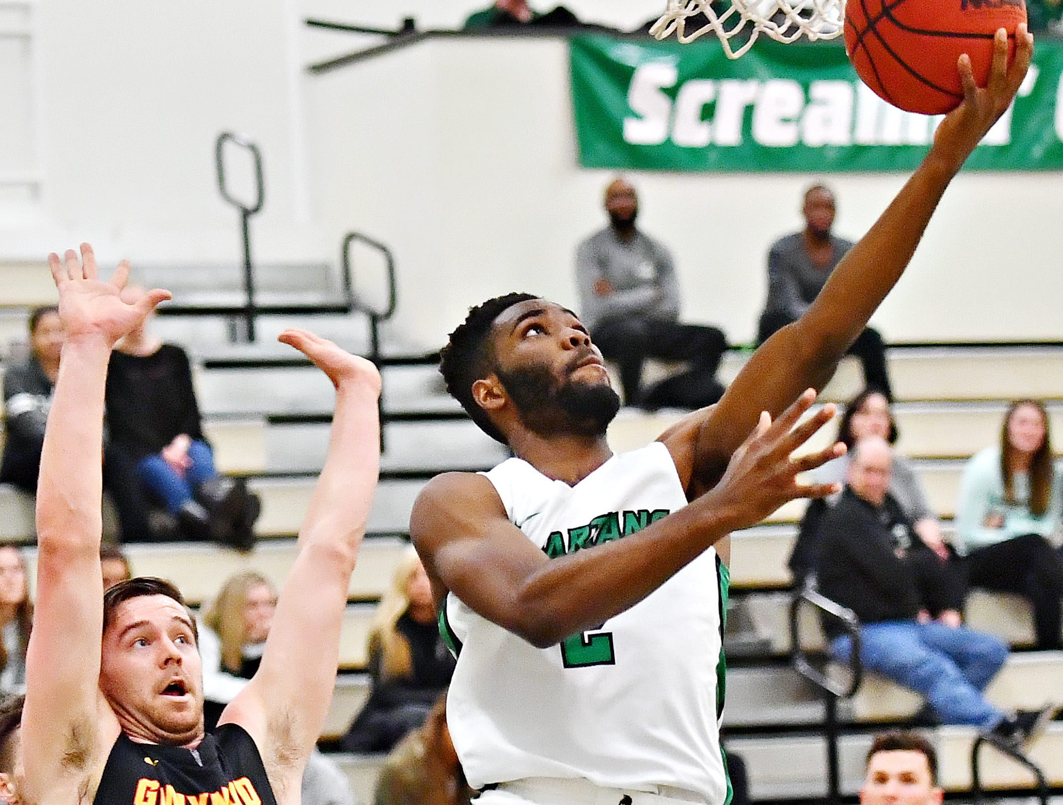York College's Jason Bady takes the ball to the basket during men's basketball action against Gwynedd-Mercy at Grumbacher Sport and Fitness Center in Spring Garden Township, Wednesday, Nov. 28, 2018. Dawn J. Sagert photo