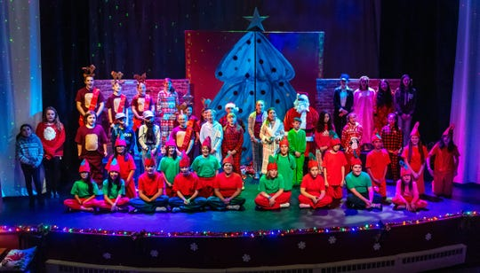 """The Polar Express cast sings """"Believe"""" at the conclusion of the play."""