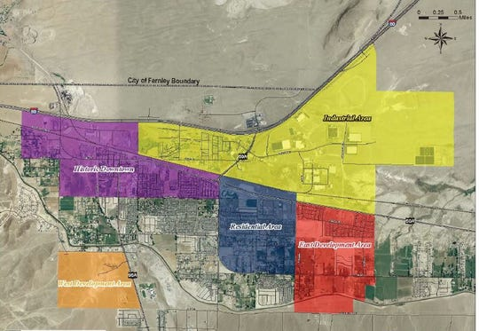 A map shows the five areas of Fernley's new redevelopment district.