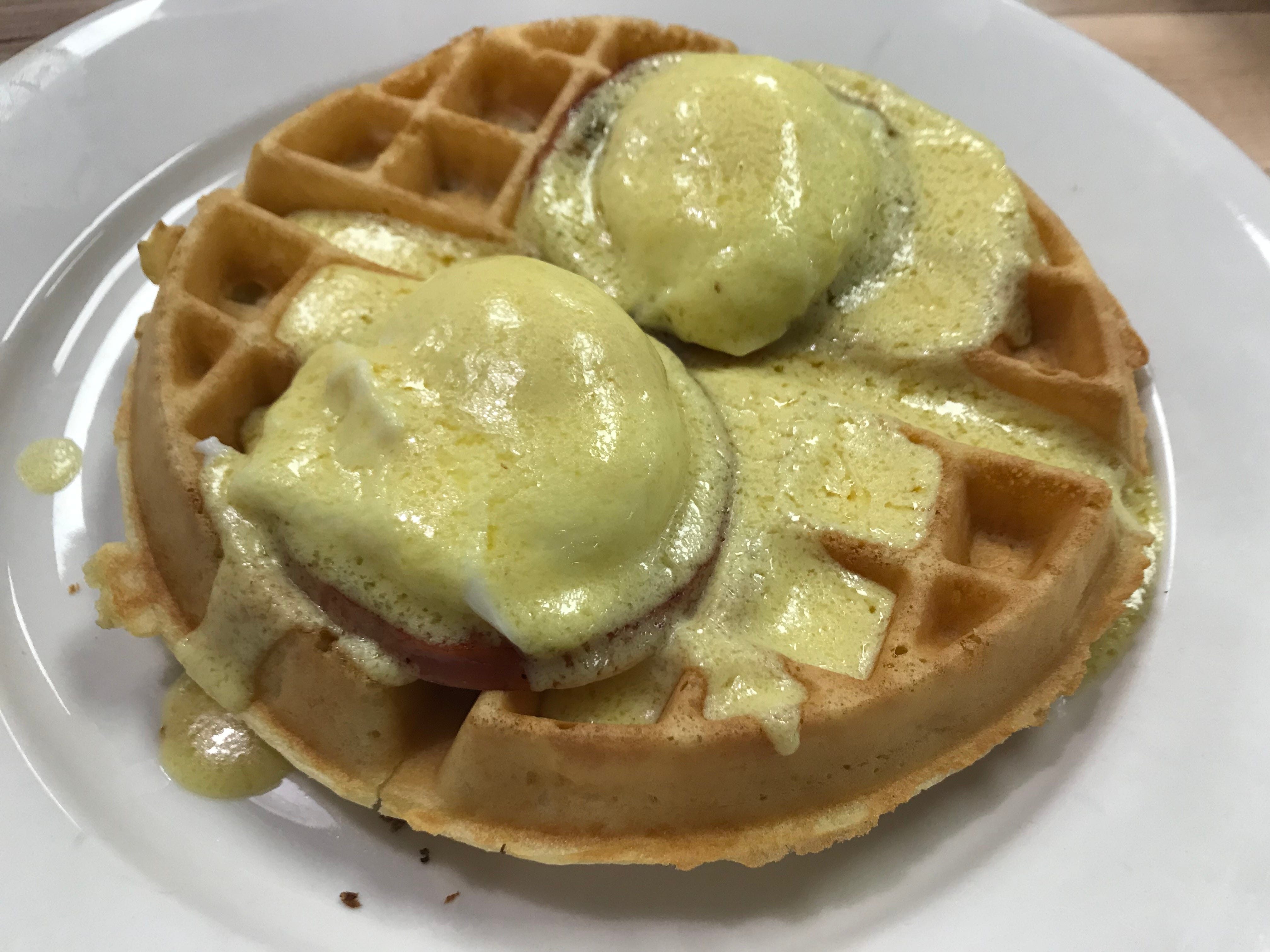 The Original Steve's Diner offers a large list of Benedicts. The Waffles Benedict is one of the creative preparations.