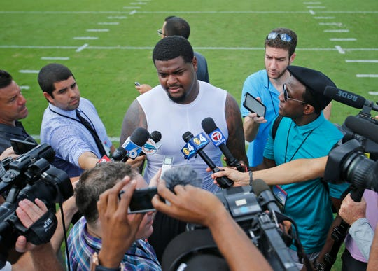 Jordan Phillips during his days with the Dolphins. The outspoken defensive tackle has no love lost for his Miami coaches.