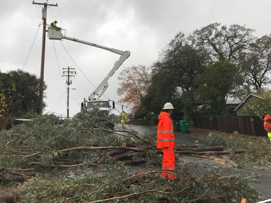 A Thursday storm knocked down a tree which brought down a power line on Main Street near Locust Street in Shasta Lake.