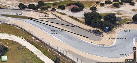 Track worker Richard Reins died after two vehicles crashed at Laguna Seca Oct. 14.