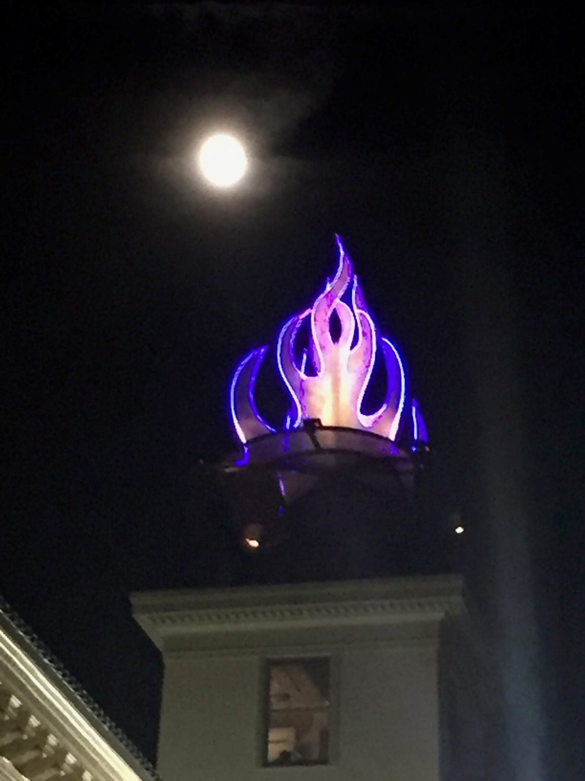 """The Flame"" designed by Bruce Allen lights up the top of the Kallenberg Artist Tower in downtown Shreveport."