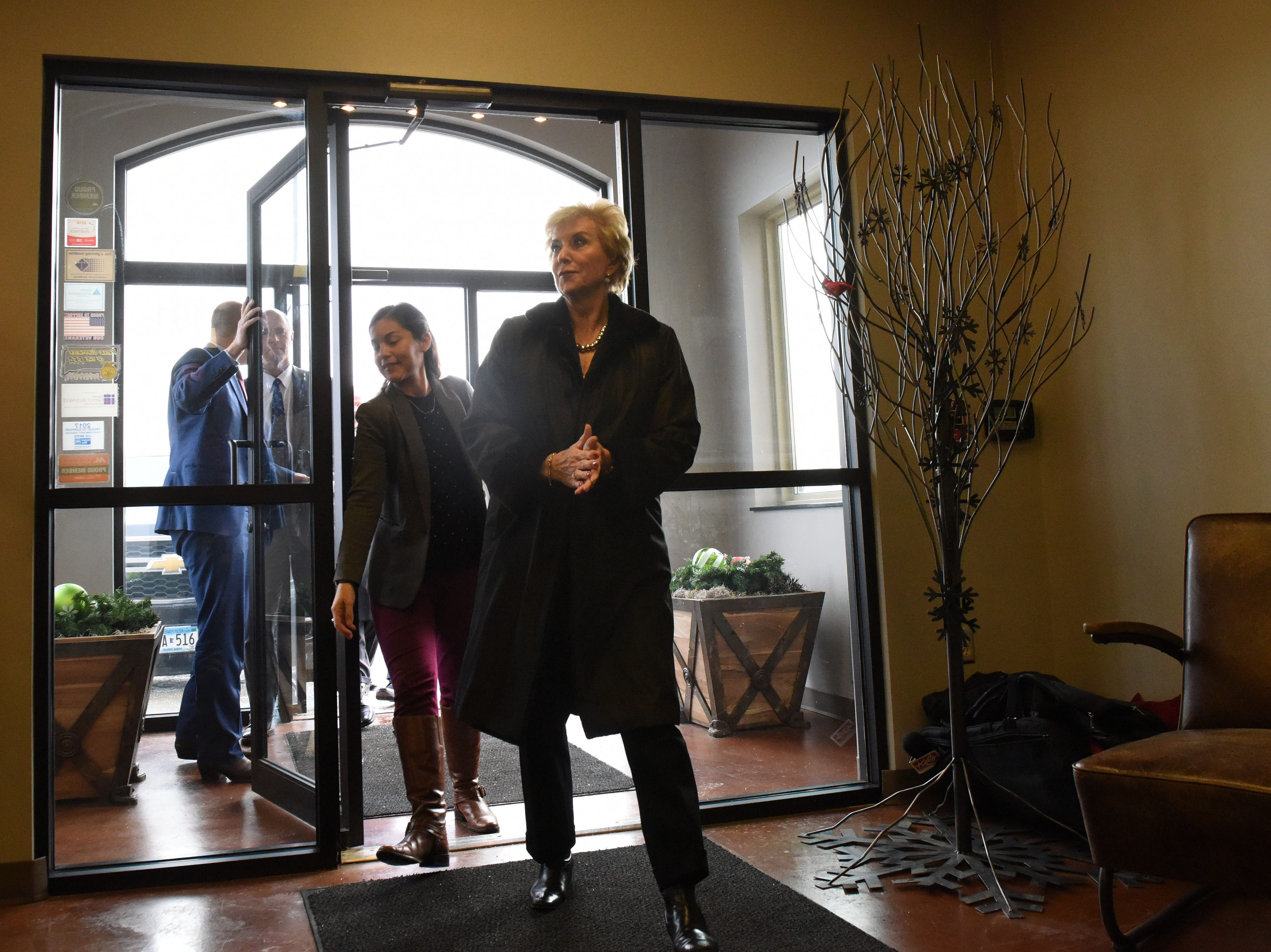Linda McMahon, head of the U.S. Small Business Administration, gets a tour of DeGeest Steel Works in Tea, S.D., Thursday, Nov. 29, 2018.