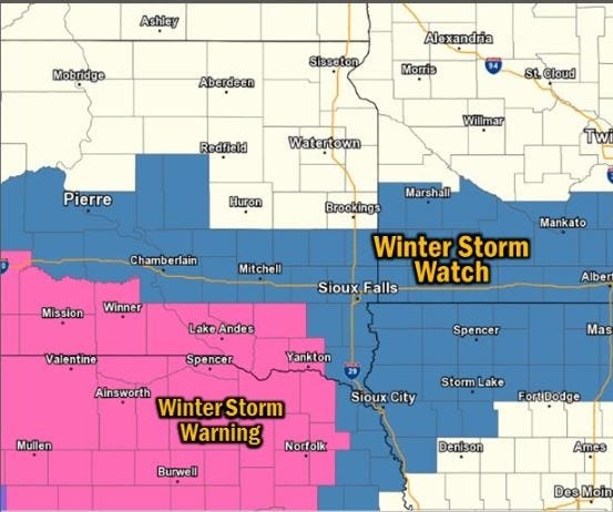Winter storm watches and warnings as of 3:30 p.m. Thursday.