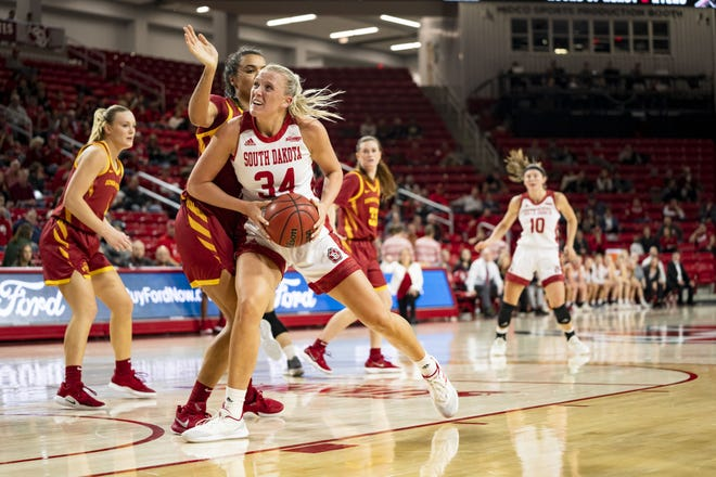 South Dakota's Hannah Sjerven drives toward the basket for a layup on Wednesday night in the Coyotes' game with Iowa State at the Sanford Coyote Sports Center.