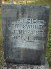 At the base of the grave marker for Elzie T. Tittsworth (June 24, 1872 to Dec. 13, 1922) is a flat marker for Noel (1910 to 1989) and Mary (1911 to 2005) Tittsworth, although Mary is not buried here in Cupp Cemetery.