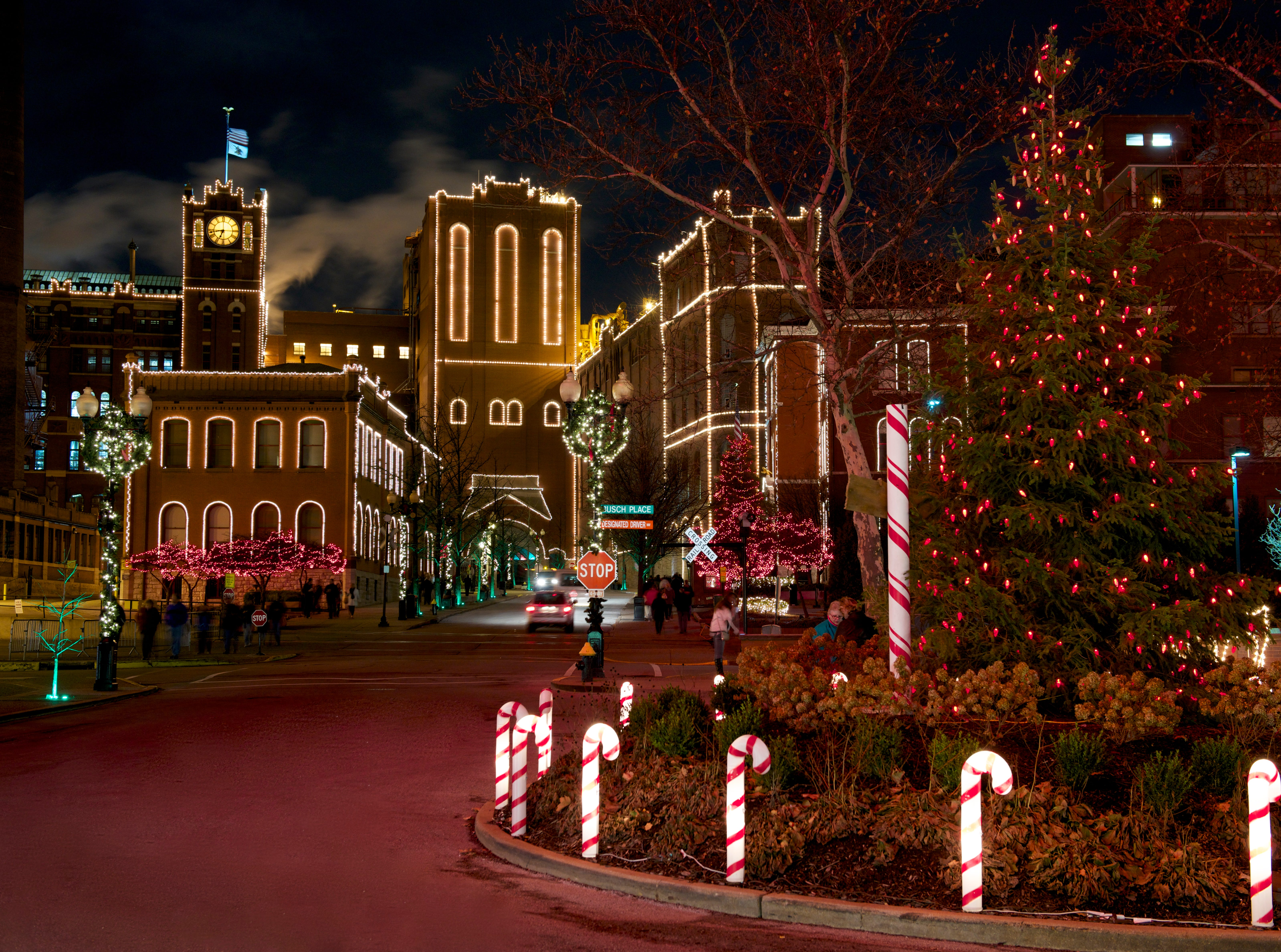 Anheuser-Busch holiday lights in St. Louis.