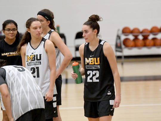 Mary Baldwin freshman Leah Calhoun takes water during team practice at the university in Staunton on Wednesday night, Nov. 28, 2018.