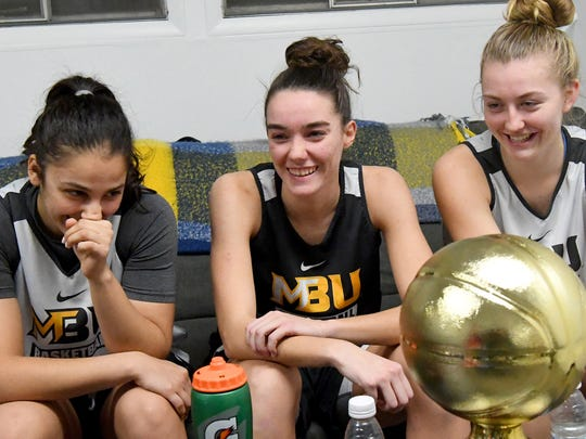 Mary Baldwin University freshmen Demet Saygili, Leah Calhoun and Hannah Varner talk about how they ended up at MBU, their nicknames and more during an interview in Staunton on Wednesday night, Nov. 28, 2018.