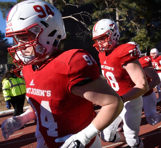 Defensive end Ted Kalina Takes the field for the Saturday, Nov. 17, game against Martin Luther College at Clemens Stadium in Collegeville.