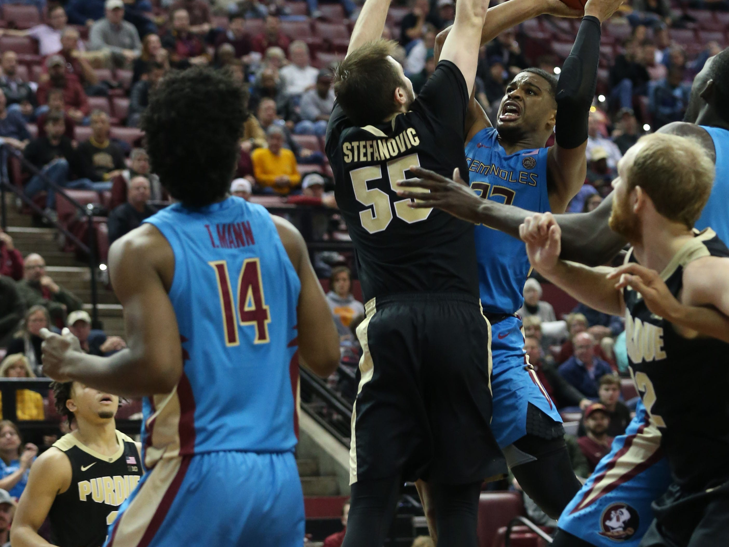 The Florida State Seminoles host the Purdue Boilermakers at the Tucker Civic Center, Wednesday, Nov. 28, 2018.