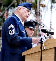"CMSgt. John Schmidt, USAF (Ret.) leads the Pledge of Allegiance as the Florida Capitol hosted one of the more than 300 ""Wreaths Across America"" ceremonies on Monday Dec., 5, 2011."