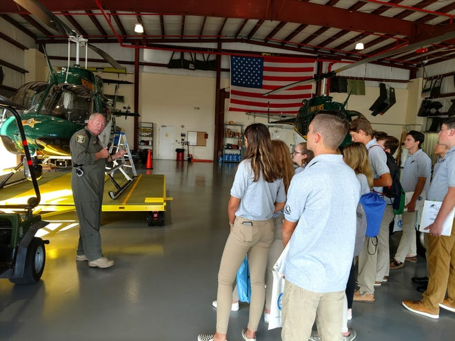 Students learn about how the helicopters and the technical equipment used by the Martin County Sheriff's Office are used to track and, if necessary, capture potential criminals in our county